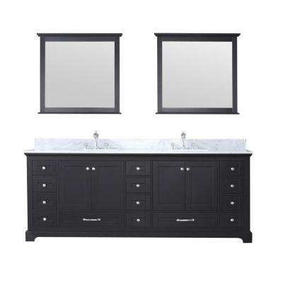Dukes 84 in. Double Bath Vanity in Espresso w/ White Carrera Marble Top w/ White Square Sinks and 34 in. Mirrors