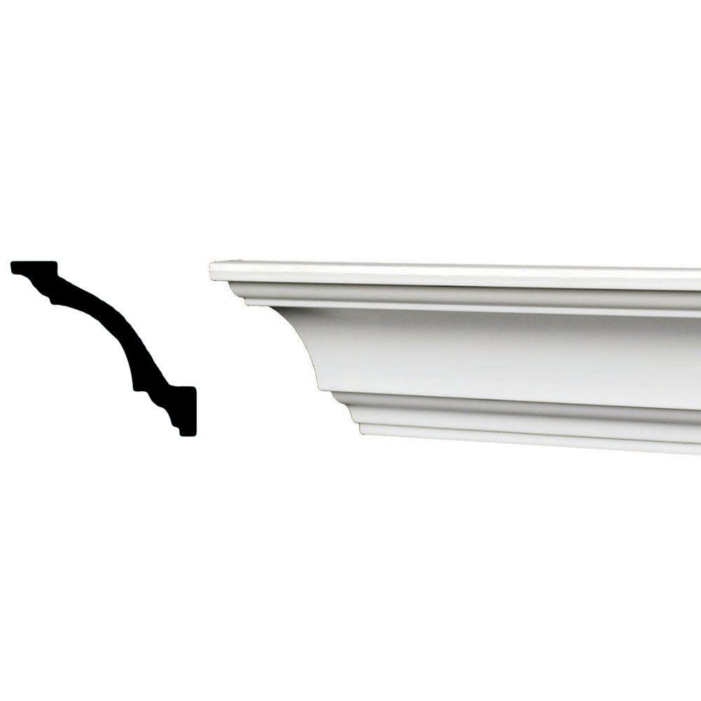 American Pro Decor 96 in. x 3-1/8 in. x 3-1/8 in. Plain Recycled Polystyrene Crown Molding