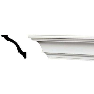 96 in. x 3-1/8 in. x 3-1/8 in. Plain Recycled Polystyrene Crown Molding