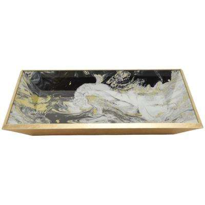 2 in. Black Glass Rectangle Decorative Tray