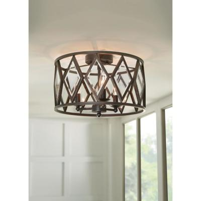 16 in. 3-Light Bronze Prismatic Glass Flush Mount