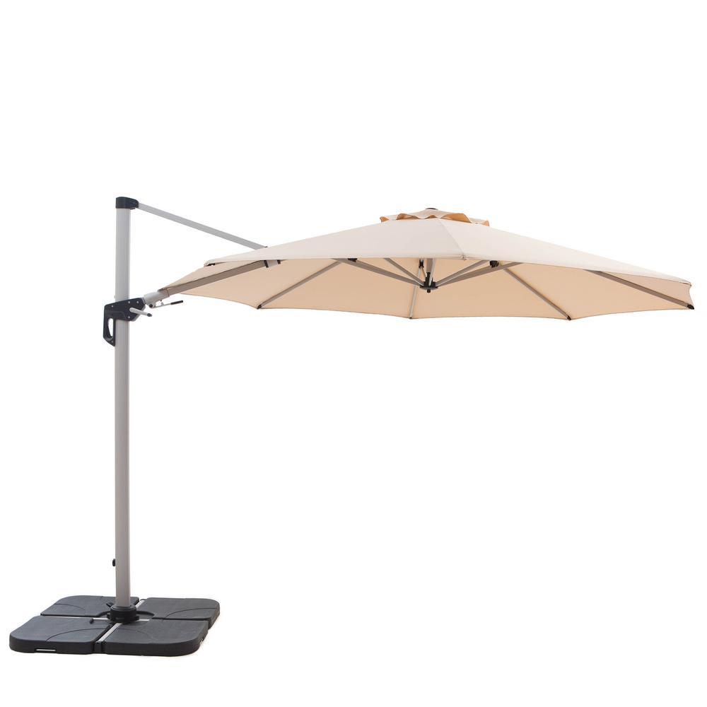 VIDA 11 ft. Heavy-Duty Cantilever Patio Umbrella in Beige