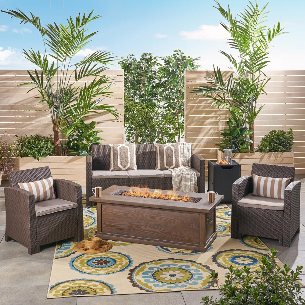 Noble House St. John's 5-Piece Wicker Patio Fire Pit ...