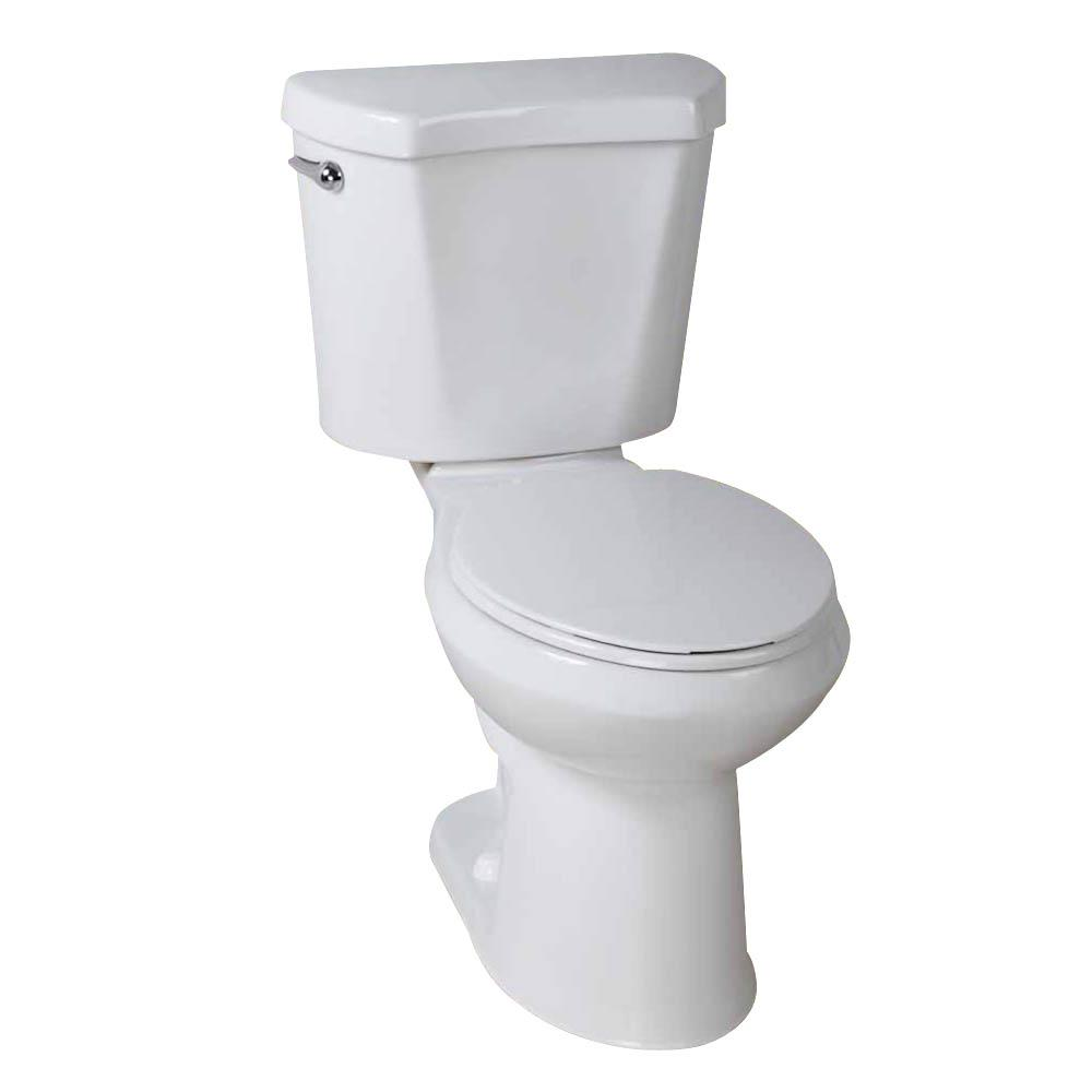 Glacier Bay 10 in. Rough-in 2-Piece 1.28 GPF High Efficiency Single Flush Round Front All-in-One Toilet in White, Seat Included