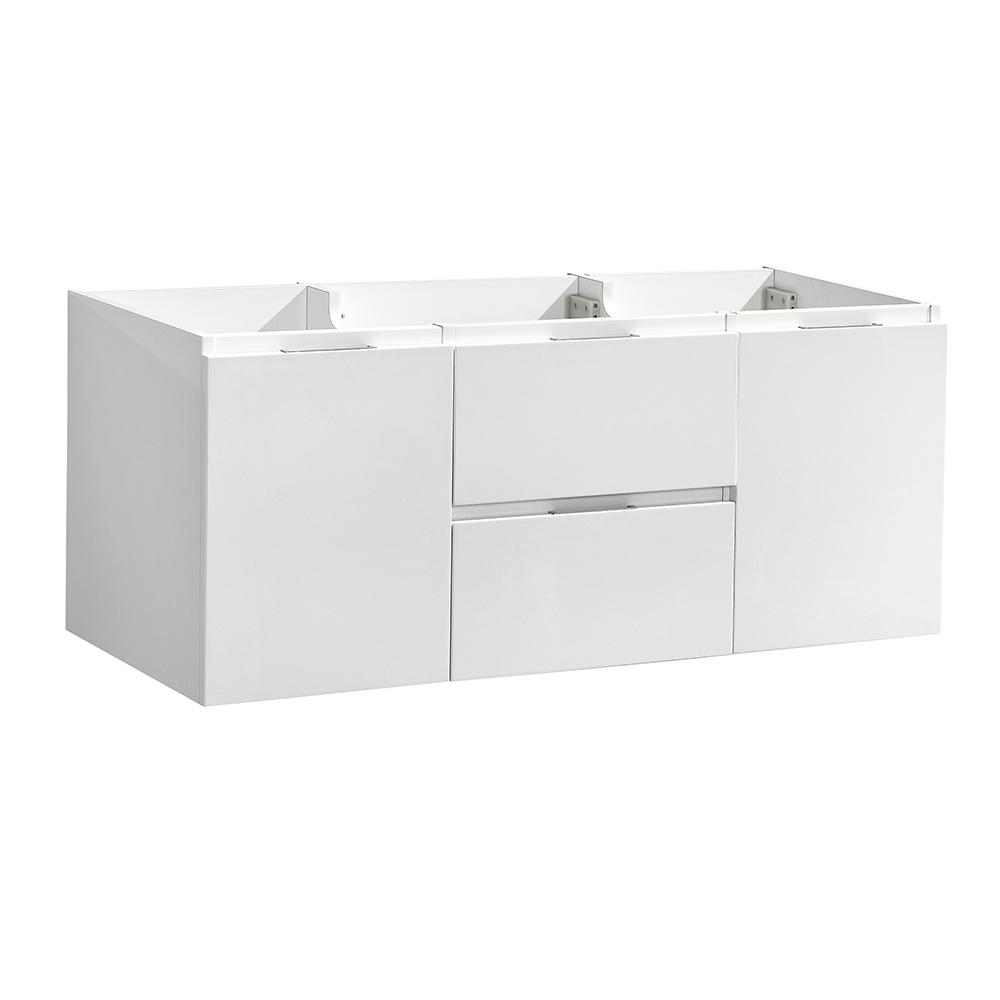 W Wall Hung Bathroom Double Vanity Cabinet In Glossy White