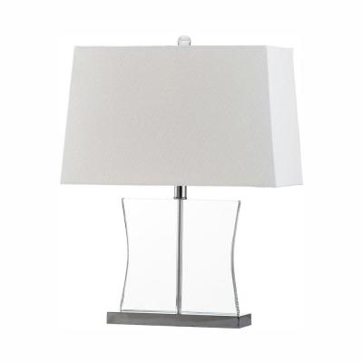 Salcha 23.5 in. Clear Crystal Tapered Table Lamp with White Shade