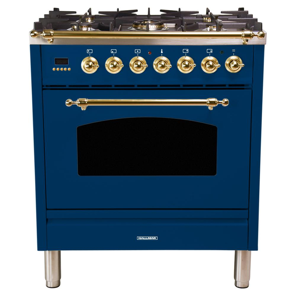 Hallman 30 in. 3.0 cu. ft. Single Oven Dual Fuel Italian Range with True Convection, 5 Burners, Brass Trim in Blue