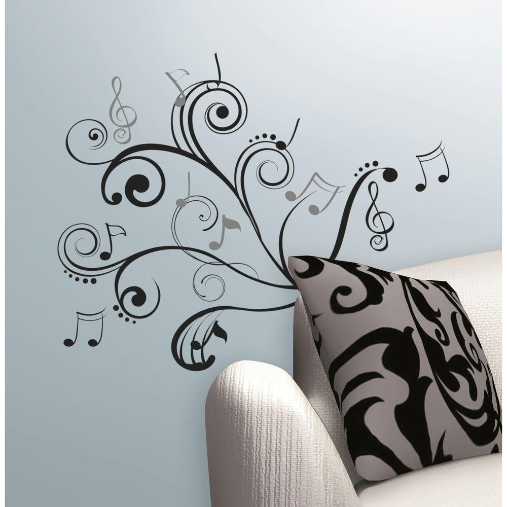 null 10 in. x 18 in. Music Scroll Notes 50-Piece Peel and Stick Wall Decals