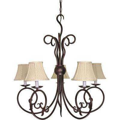 5-Light Old Bronze Incandescent Ceiling Chandelier