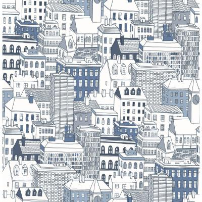 56.4 sq. ft. West Blue City Wallpaper