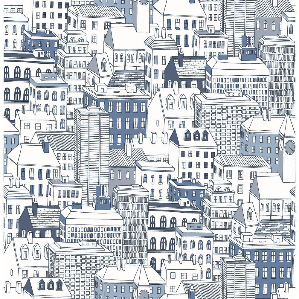 56.4 sq. ft. West Blue City Wallpaper