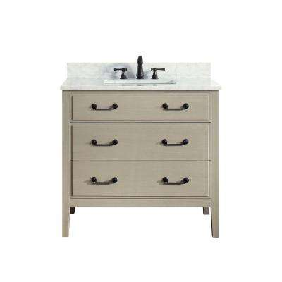 Delano 37 in. W x 22 in. D x 35 in. H Vanity in Taupe Glaze with Marble Vanity Top in Carrera White with White Basin