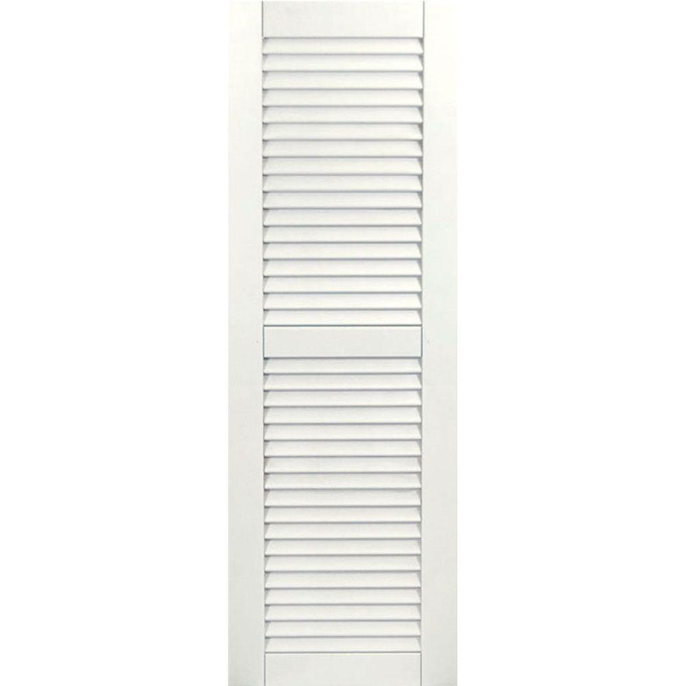 Ekena Millwork 12 in. x 30 in. Exterior Composite Wood Louvered Shutters Pair White