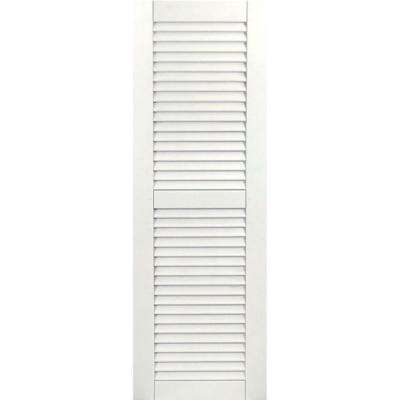 15 in. x 27 in. Exterior Composite Wood Louvered Shutters Pair White