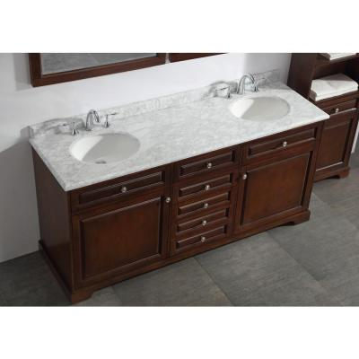 Highclere 72 in. W x 22 in. D Double Bath Vanity in Cocoa with Natural Carrara Marble Vanity Top in White