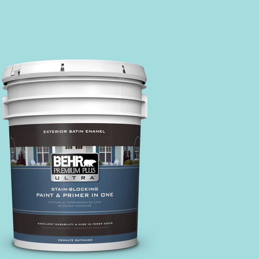 BEHR Premium Plus Ultra 5-gal. #500A-3 Aqua Spray Satin Enamel Exterior Paint