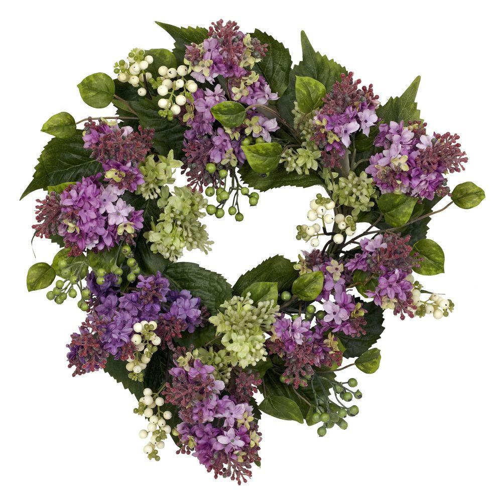 Nearly Natural 20.0 in. H Purple Hanel Lilac Wreath
