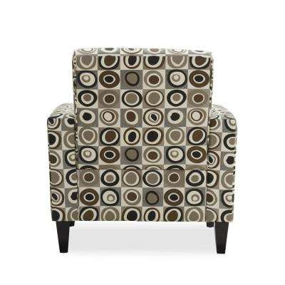 Baja Gray, Black and Brown Geometric Circles Arm Chair