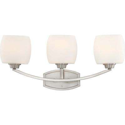 3-Light Brushed Nickel Incandescent Wall Vanity Light