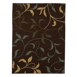 Ottomanson Leaves Design Brown 8 ft. 2 inch x 9 ft. 10 inch Non-Skid Area Rug by Ottomanson