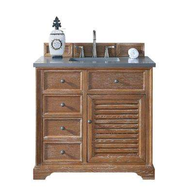 Savannah 36 in. W Single Vanity in Driftwood with Quartz Vanity Top in Gray with White Basin