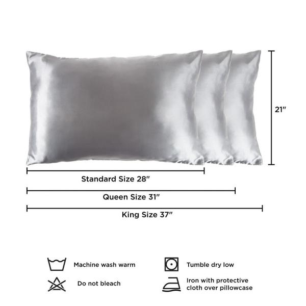 Lavish Home Polyester Satin Microfiber Queen Size Pillowcase With