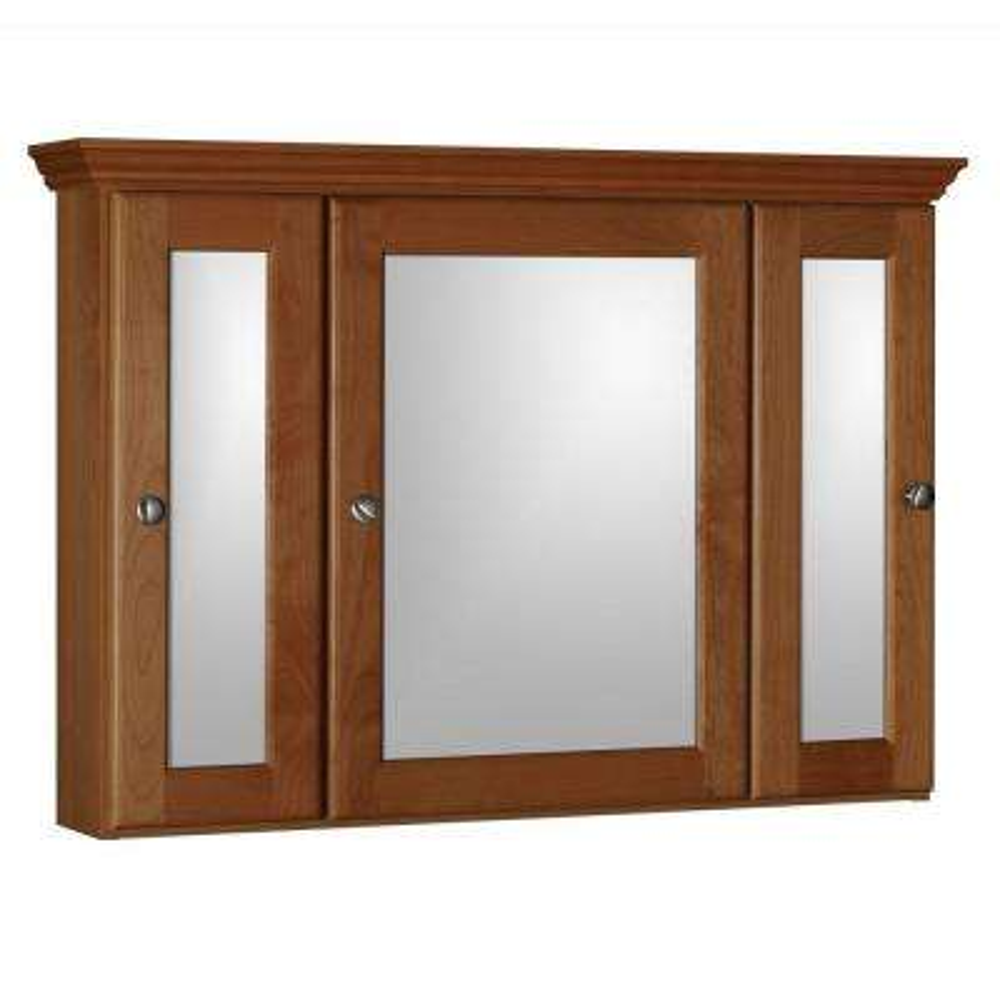 Ultraline 36 in. W x 27 in. H x 6-1/2 in. D Framed Tri-View Surface-Mount Bathroom Medicine Cabinet in Medium Alder