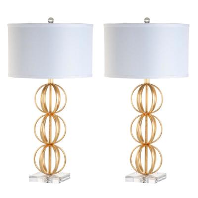 Annistyn 29 in. Brass Gold Sphere Table Lamp with White Shade (Set of 2)