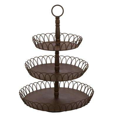 21.5 in. H Iron Rustic Triple Tray (KD)