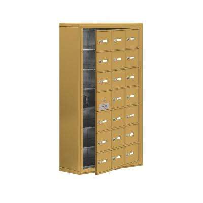 19100 Series 24 in. W x 42 in. H x 9.25 in. D 20 Doors Cell Phone Locker Surface Mount Keyed Lock in Gold