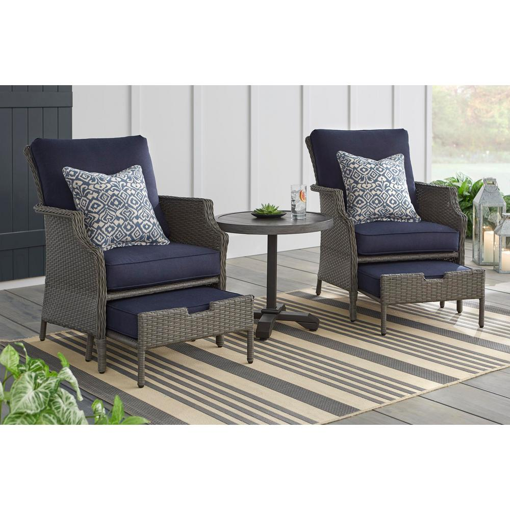 Hampton Bay Grayson 5 Piece Ash Gray Wicker Patio Small Es Chat Set With Midnight