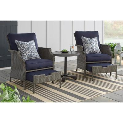 Hampton Bay Grayson 5 Piece Ash Gray Wicker Patio Small Es Chat Set With Midnight Blue Cushions
