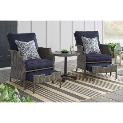 Grayson 5-Piece Ash Gray Wicker Patio Small Spaces Chat Set with Midnight Blue Cushions