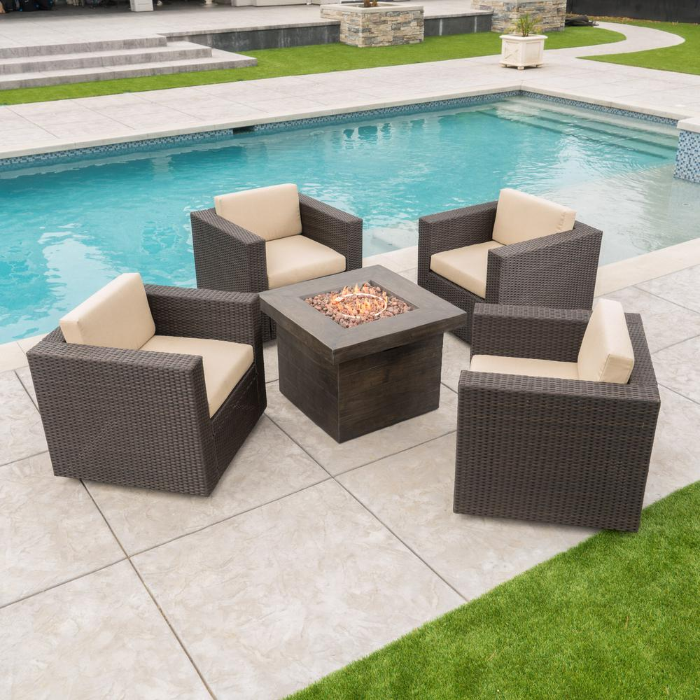 Noble House Noble House Puerta Dark Brown 4-Piece Wicker Patio Fire Pit Seating Set with Beige Cushions