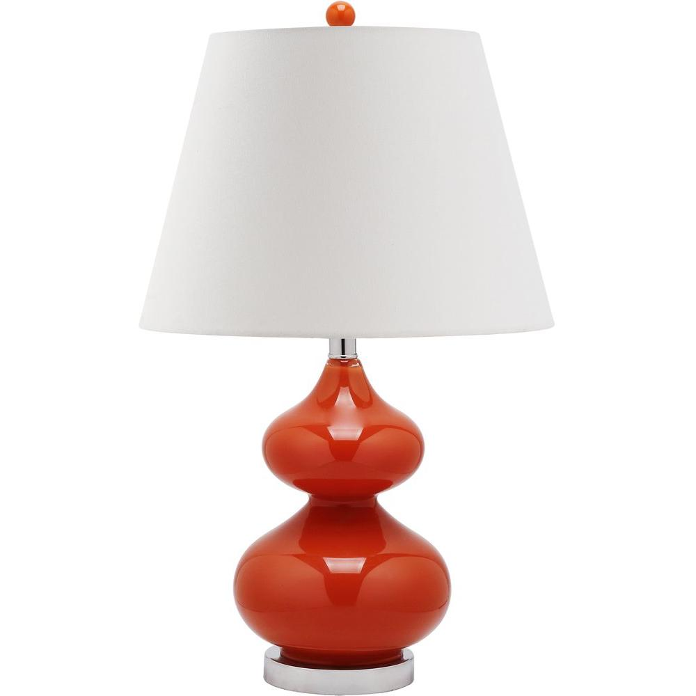 eva 24 in blood orange double gourd glass table lamp with - Krbis Tischlampen