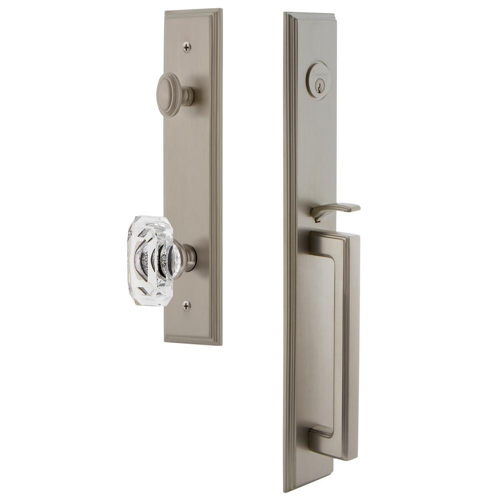 Grandeur Carre 2-3/4 in. Backset Satin Nickel 1-Piece Door Handleset with D-Grip and Baguette Clear Crystal Knob