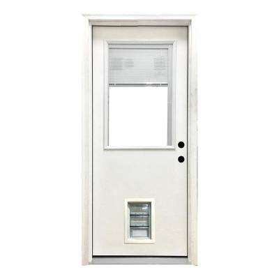 32 in. x 80 in. Classic Mini-Blind LHIS White Primed Textured Fiberglass Prehung Front Door with Med Pet Door
