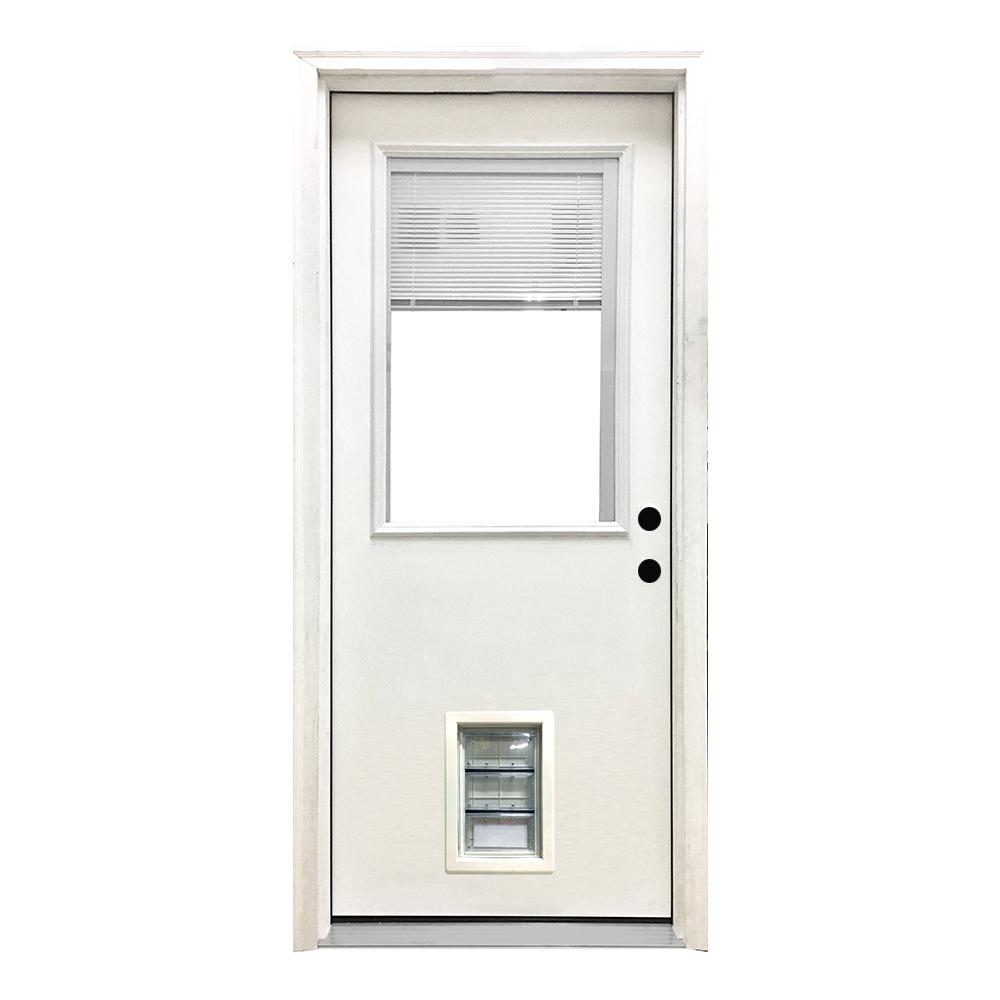 Steves Sons 32 In X 80 In Classic Mini Blind Lhis White Primed Textured Fiberglass Prehung