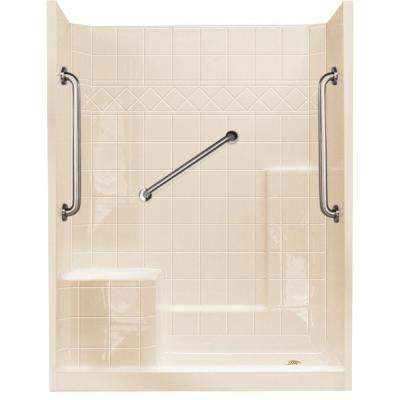 32 in. x 60 in. x 77 in. Standard Plus 24 Low Threshold 3- Piece Shower Kit in Bone with Left Seat and Right Drain