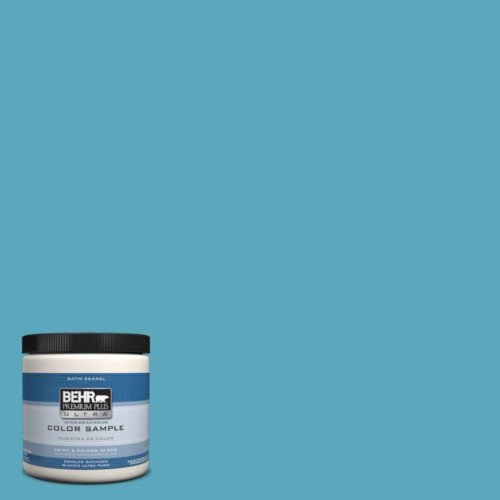 T15 11 Sonic Blue Satin Enamel Interior Exterior Paint And Primer In One Sample