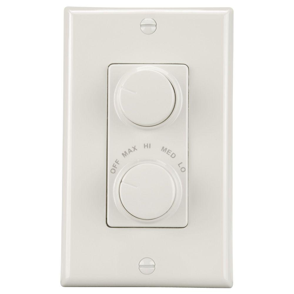 NuTone 4-Speed White Light and Paddle Fan Wall Control