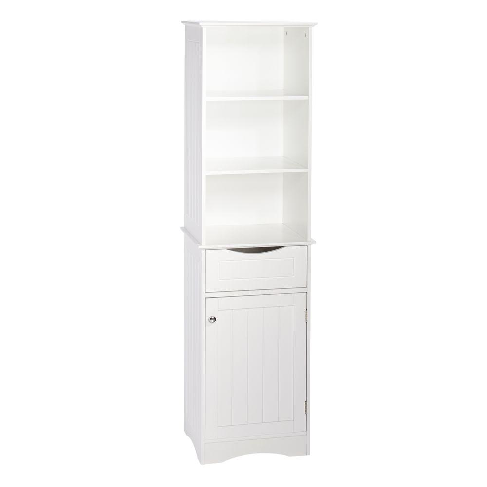Riverridge Home Ashland 16 1 2 In W X 60 H Bathroom Linen Storage Tower Cabinet White