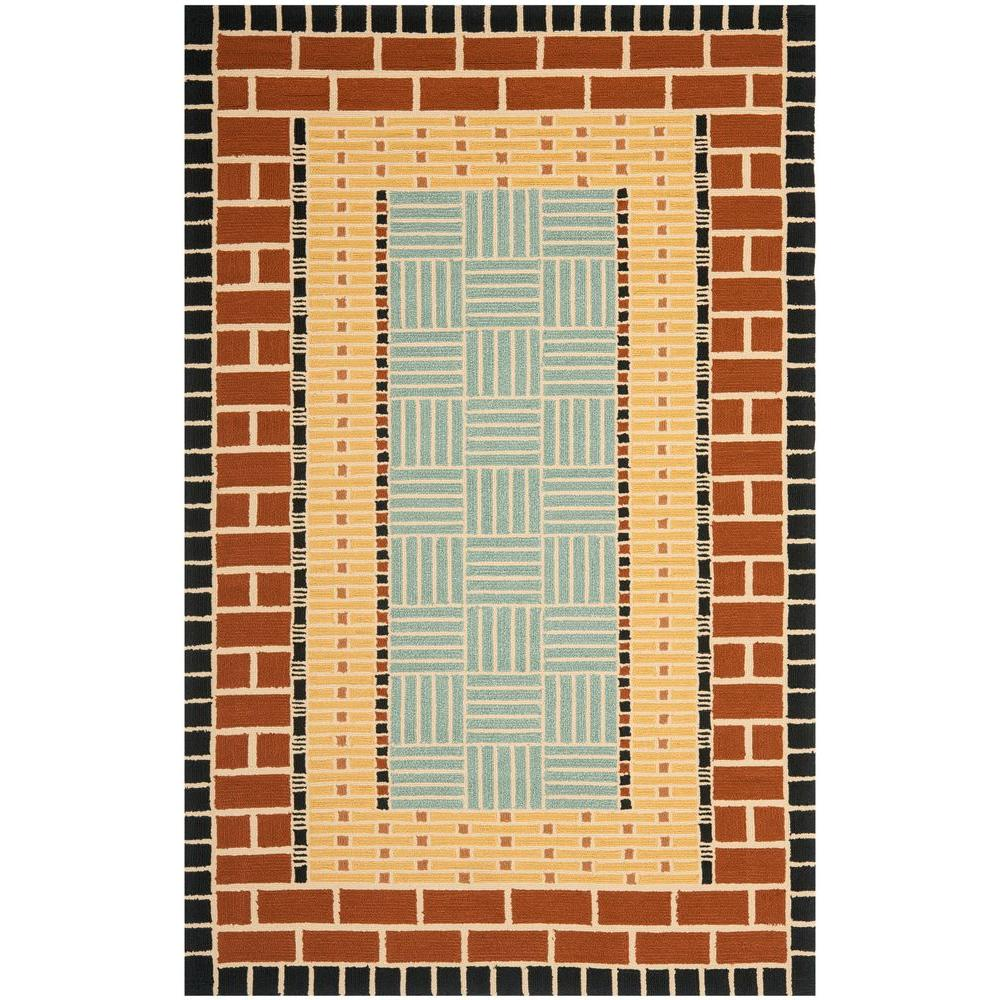 Four Seasons Brown/Blue 3 ft. 6 in. x 5 ft. 6