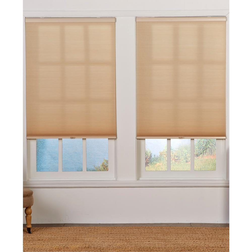 Perfect Lift Window Treatment Cut-to-Width Straw 1.5in Cordless Light Filter Double Cellular Shade-53.5in W x 72in L (Actual size: 53.5in W x 72in L)