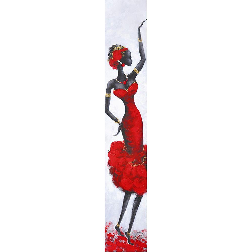 Yosemite Home Decor 20 in. x 79 in. Lady Red III Hand Painted Contemporary Artwork
