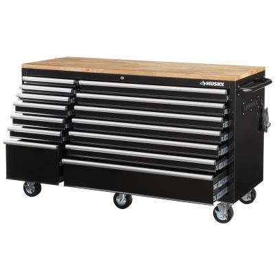 62 in. 14-Drawer Mobile Workbench with Solid Wood Top, Black