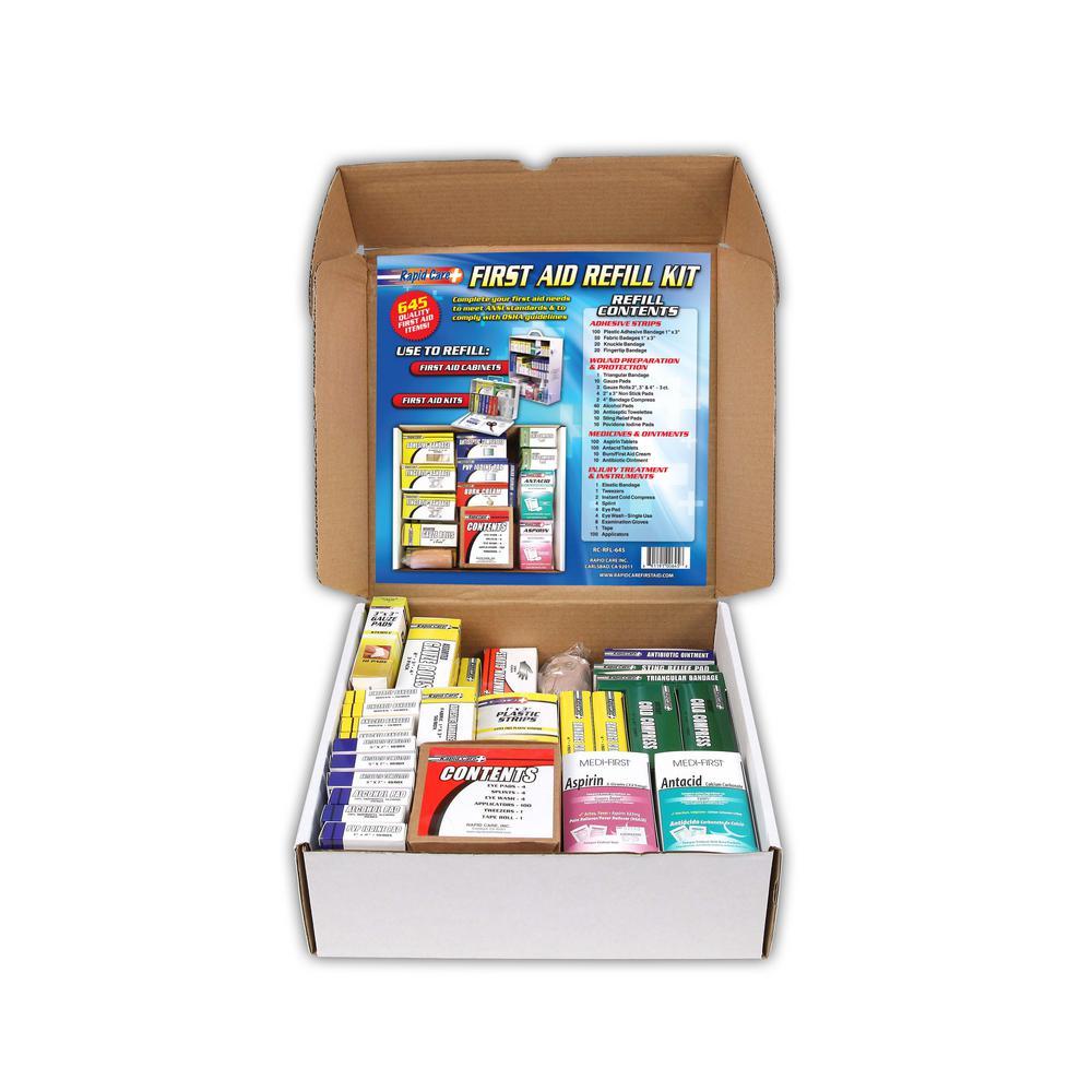 643-Piece 3-Shelf First Aid Station Refill Kit