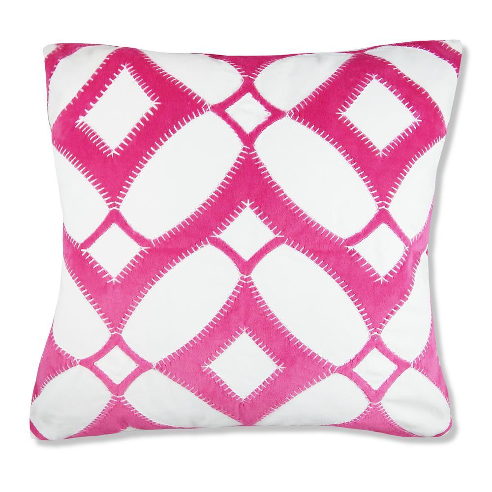 Velvet Fuchsia Geometric Pillow
