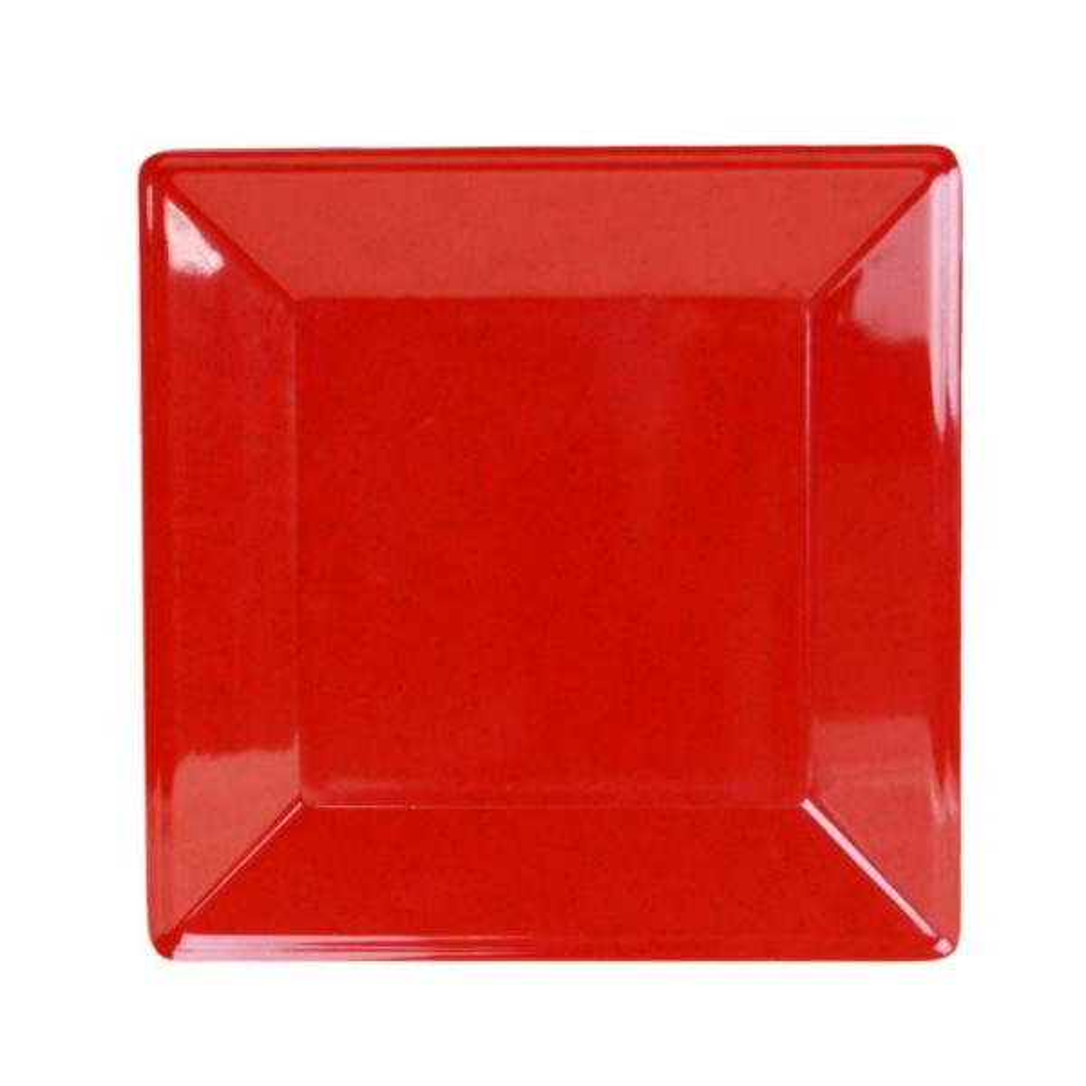 Restaurant Essentials Jazz 13-3/4 in. x 13-3/4 in. Square Plate 1-1/8 in. Deep in Red (1-Piece)