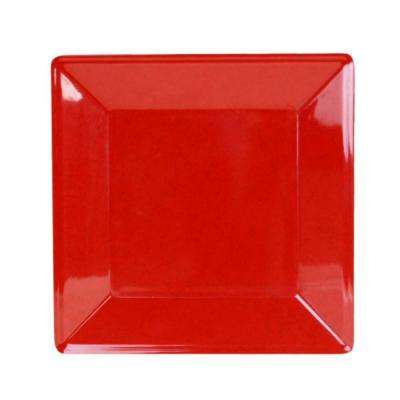 Jazz 13-3/4 in. x 13-3/4 in. Square Plate 1-1/8 in. Deep in Red (1-Piece)